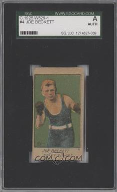 1920-25 W529 Strip Card - [Base] - Type 1 #4 - Joe Beckett [SGC AUTHENTIC]