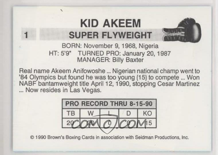 1990 Brown's Boxing - [Base] #1 - Kid Akeem