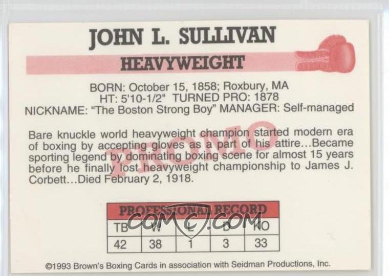 1993 Brown's Boxing Cards - [Base] #JOSU - John L  Sullivan