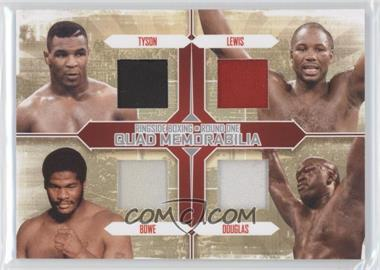 2010 Ringside Boxing Round 1 - Quad Memorabilia - Silver #QM-3 - Mike Tyson, Lennox Lewis, Riddick Bowe, Buster Douglas /30