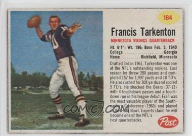 1962 Post - [Base] #184 - Francis Tarkenton