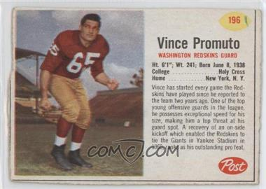 1962 Post - [Base] #196 - Vince Promuto [Good to VG‑EX]