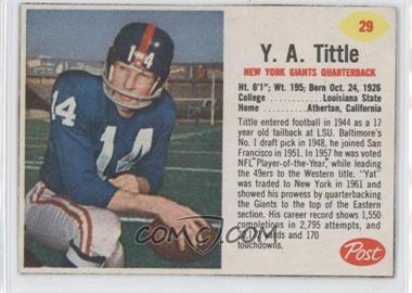1962 Post - [Base] #29 - Y.A. Tittle