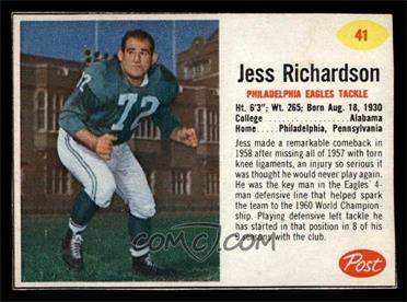 1962 Post - [Base] #41 - Jess Richardson [EXMT]