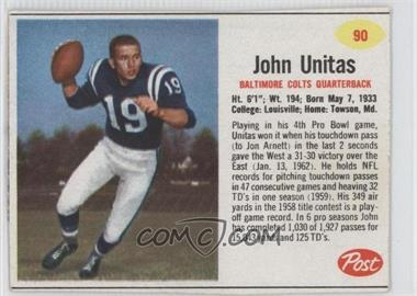 1962 Post - [Base] #90 - Johnny Unitas