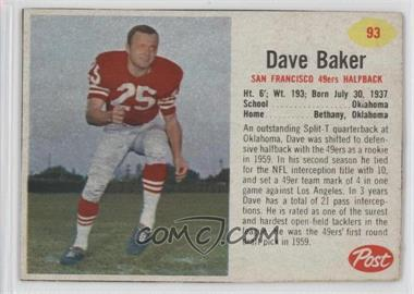 1962 Post - [Base] #93 - Dave Baker