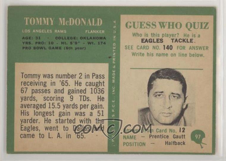 2f2889c5c35 Report Error. 1966 Philadelphia -  Base   97 - Tommy McDonald