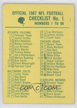 1967 Philadelphia - [Base] #197 - Checklist No. 1 [GoodtoVG‑EX]