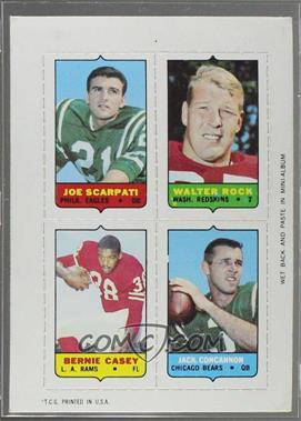 1969 Topps - Mini-Cards (4-in-1) #SRCC - Joe Scarpati, Walter Rock, Bernie Casey, Jack Concannon [GoodtoVG‑EX]