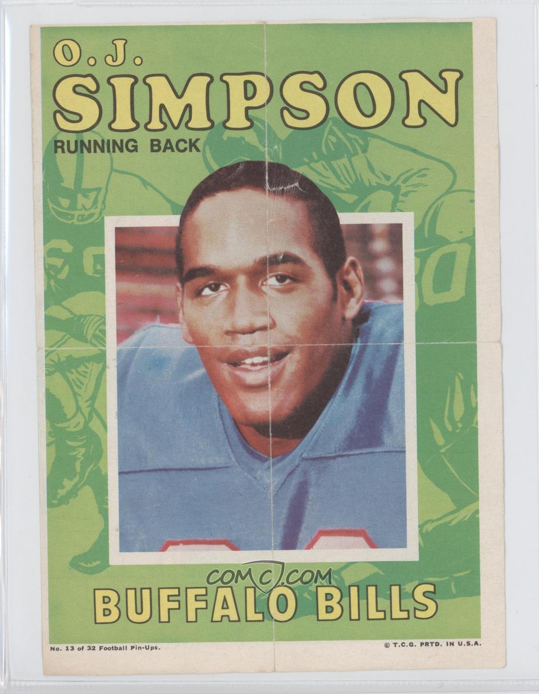 1971 Topps Football Pin Ups Base 13 Oj Simpson