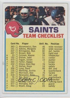 1973 Topps Team Checklists - [Base] #NO - New Orleans Saints