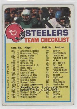 1973 Topps Team Checklists - [Base] #PIST.1 - Pittsburgh Steelers (One Star on Front) [Good to VG‑EX]