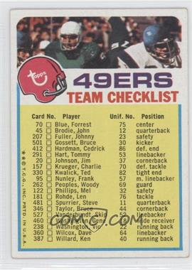 1973 Topps Team Checklists - [Base] #SF - San Francisco 49ers