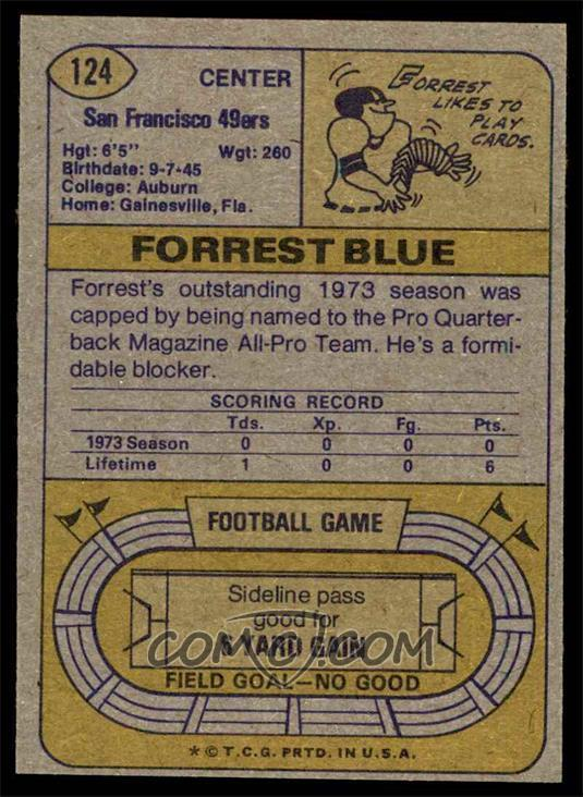1974 Topps - [Base] #124 - Forrest Blue (All Pro Notation) [NM]