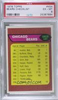 Chicago Bears Team Checklist [PSA6EX‑MT]