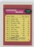 Chicago Bears Team Checklist