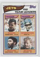 Freeman McNeil, Darrol Ray, Wesley Walker, Joe Klecko (1981 Jets Team Leaders)