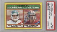 1985 NFL Passing Leaders (Ken O'Brien, Joe Montana) [PSA8NM‑M…