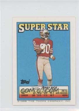 1988 Topps Super Star Sticker Back Cards - [Base] #8.7 - Jerry Rice (Stump Mitchell 27, Mark Haynes 178)