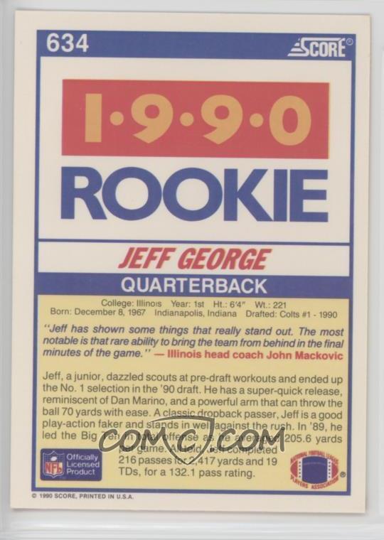 1990 Score Base 634 Jeff George