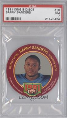 1991 King-B Collector's Edition Discs - [Base] #16 - Barry Sanders [PSA 7]