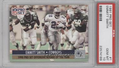1991 Pro Set - [Base] #1.2 - Emmitt Smith (Offensive ROY) [PSA 10]