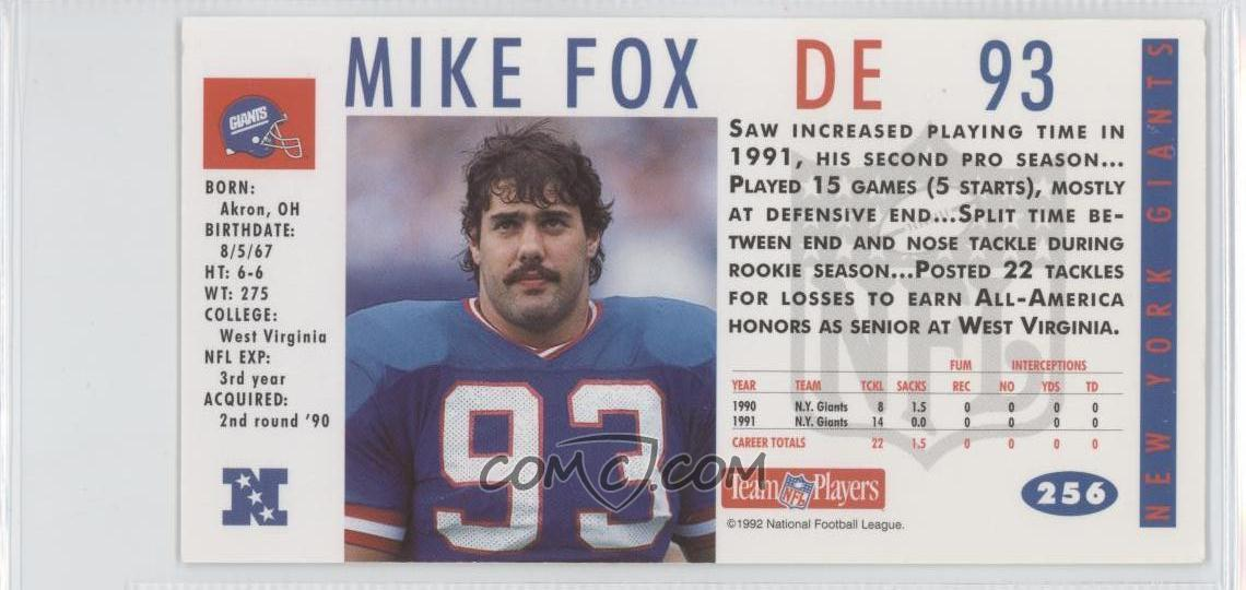 1992 gameday base 256 mike fox comc card marketplace