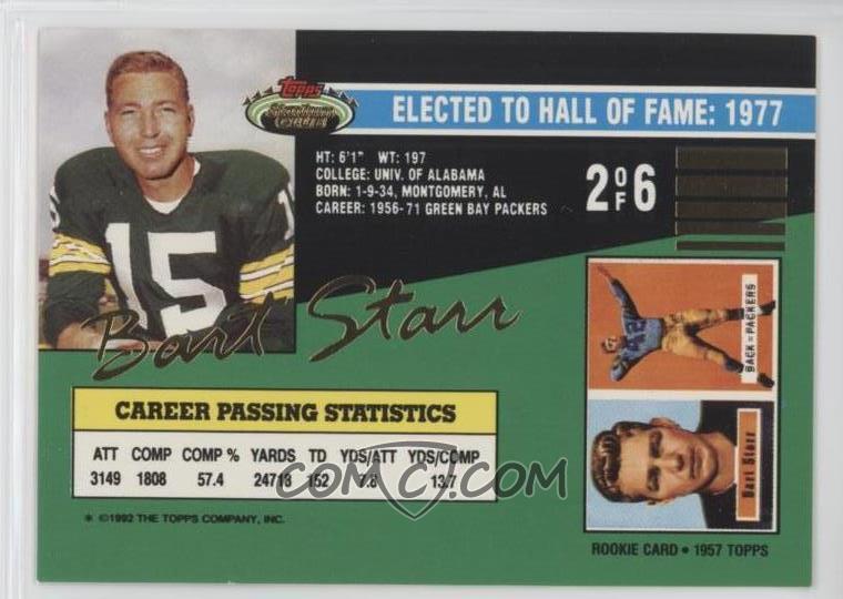 1992 Topps Stadium Club Football Legend 2 Bart Starr