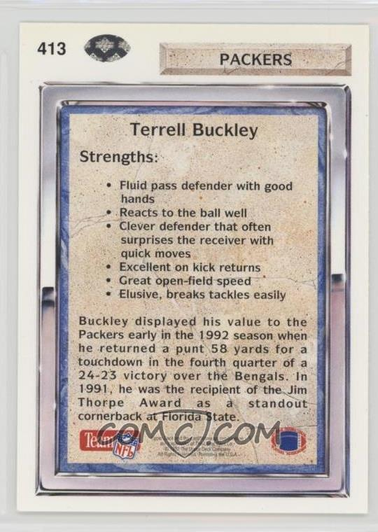 1992 Upper Deck - [Base] #413 - Terrell Buckley - COMC Card