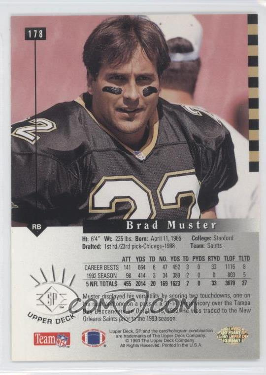 1993 upper deck sp base 178 brad muster comc card marketplace. Black Bedroom Furniture Sets. Home Design Ideas