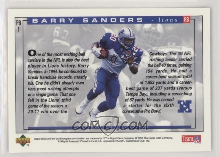 new arrival 3d6e0 89ac2 1995 Upper Deck - Pro Bowl Holograms #PB1 - Barry Sanders