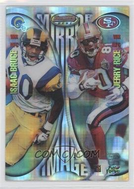 1997 Bowman's Best - Mirror Image - Atomic Refractor #MI7 - Isaac Bruce, Jerry Rice, Marvin Harrison, Tony Martin