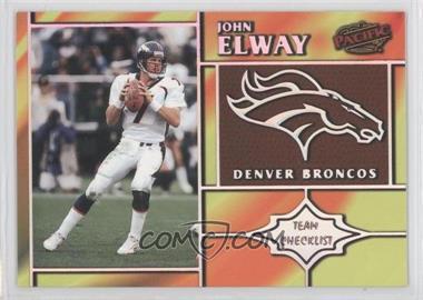 1998 Pacific - Team Checklists #9 - John Elway
