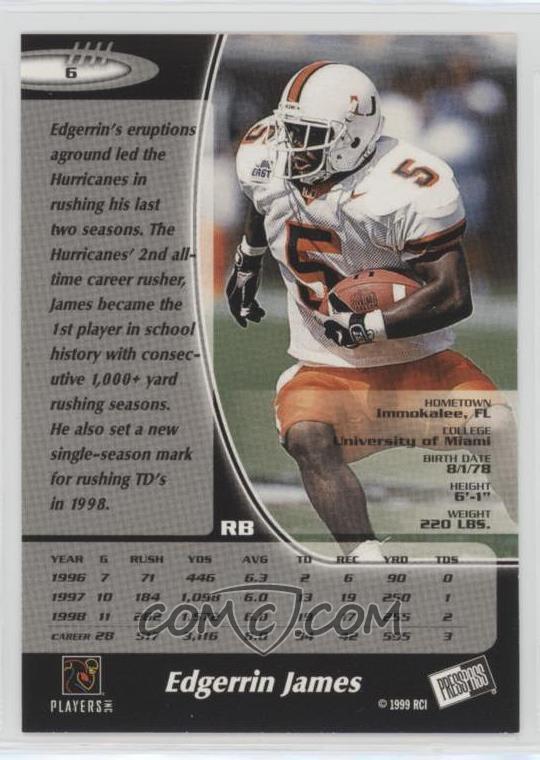 the latest 87b2f a8b9b 1999 Press Pass - [Base] - Silver #6 - Edgerrin James