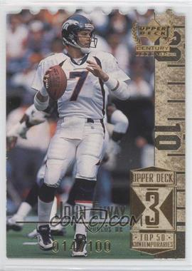 1999 Upper Deck Century Legends - [Base] - Die-Cut #53 - John Elway /100