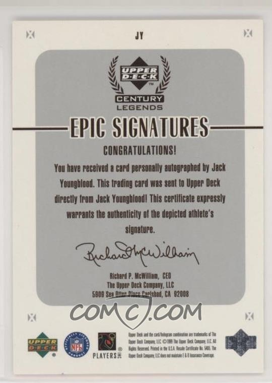 1999 Upper Deck Century Legends - Epic Signatures #JY - Jack