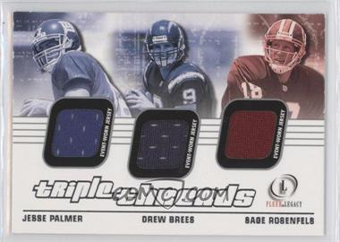 2001 Fleer Legacy - Triple Threads #TT-PBR - Jesse Palmer, Drew Brees, Sage Rosenfels