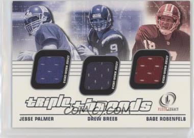2001 Fleer Legacy - Triple Threads #TT-PBR - Jesse Palmer, Drew Brees, Sage Rosenfels