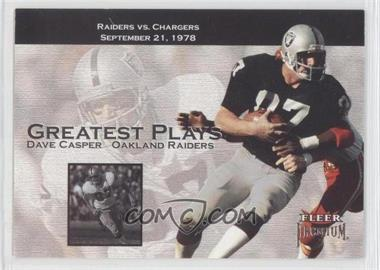 2001 Fleer Premium - Greatest Plays #1 GP - Dave Casper