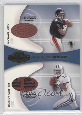 2001 Playoff Honors - Rookie Quads - Footballs [Memorabilia] #RQ-1 - Michael Vick, Quincy Carter, Chris Weinke, Mike McMahon
