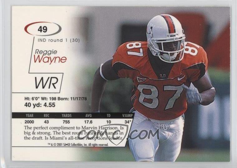 hot sale online 10a86 9bce6 2001 SAGE - [Base] #49 - Reggie Wayne /4500