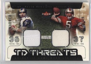 2002 Fleer Genuine - TD Threats - Jerseys [Memorabilia] #KWJG - Kurt Warner, Jeff Garcia