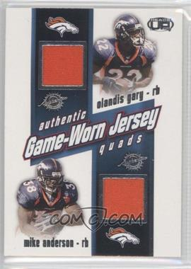 2002 Pacific Heads Up - Game Worn Jersey Quads #12 - Olandis Gary, Mike Anderson, Brian Griese, Rod Smith