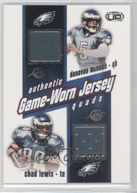 2002 Pacific Heads Up - Game Worn Jersey Quads #27 - Donovan McNabb, Chad Lewis, Brian Mitchell, Todd Pinkston