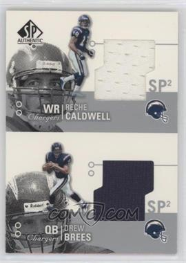 2002 SP Authentic - Threads Double #AT2-CB - Reche Caldwell, Drew Brees