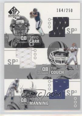 2002 SP Authentic - Threads Triple #AT3-CC - Tim Couch, Peyton Manning, David Carr /250