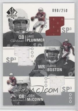 2002 SP Authentic - Threads Triple #AT3-PB - Jake Plummer, David Boston, Josh McCown /250