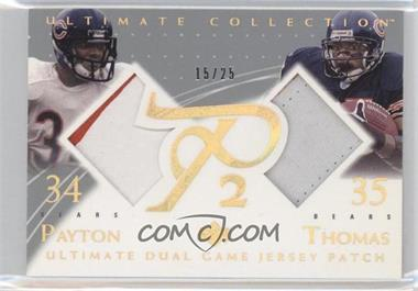 2003 Upper Deck Ultimate Collection - Ultimate Dual Game Jersey Patch #DGP-PT - Walter Payton, Anthony Thomas /25