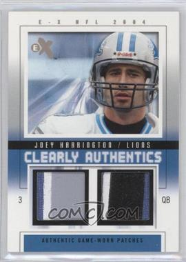 2004 Fleer E-X - Clearly Authentics - Tan Dual Patch/Patch #CA-JH - Joey Harrington /22