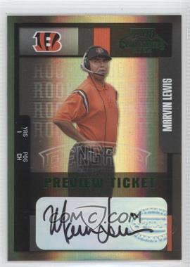 2004 Leaf Limited - Contenders Preview Ticket Autographs #200 - Marvin Lewis /15